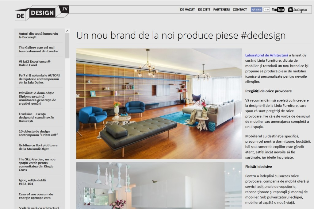 Dedesign.tv - lansare LINIA Furniture